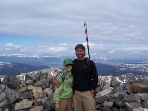 Mile High Youth Corps staff member, Christy, with her husband Joe at the top of Gray's Peak.