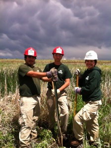 Josh, Jerry and Emily hard at work removing fence posts in Cherry Creek