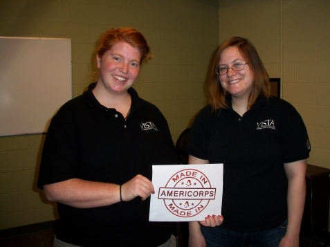 Ariel (left) and Programs VISTA, Kelly, show their support during AmeriCorps week