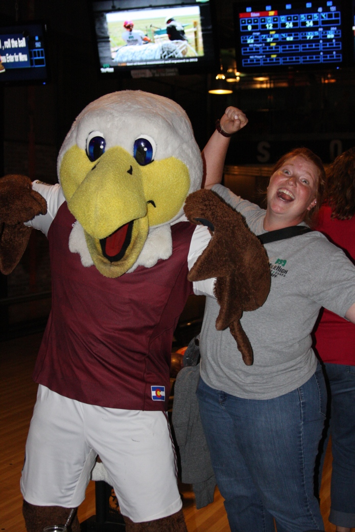 Having fun at the Corps Challenge with Colorado Rapids mascot Edson the Eagle