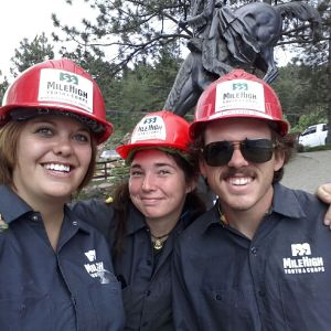 Katie and two other ACLCs, Jordan and Patrick, during a land conservation project.