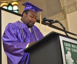 Andre Charleston gives his graduation speech